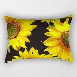 Large Sunflowers on a black background - #Society6 #buyart Rectangular Pillow