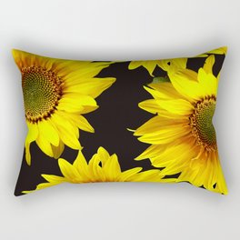 Large Sunflowers on a black background #decor #society6 #buyart Rectangular Pillow