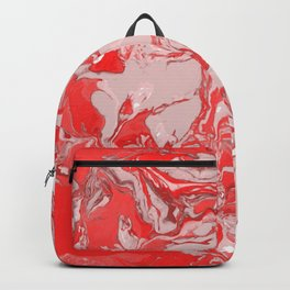 Red and white Marble texture acrylic Liquid paint art Backpack