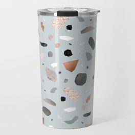 Terrazzo Stone Confetti blue Travel Mug