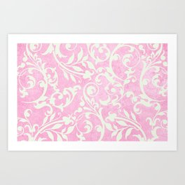 Shabby Chic pink damask Art Print
