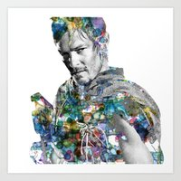 daryl Art Prints featuring Daryl Dixon by NKlein Design
