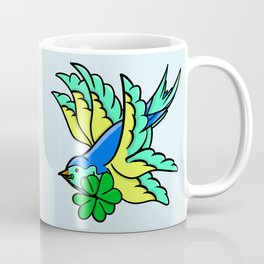 Swallow With Lucky Four Leaf Clover Coffee Mug