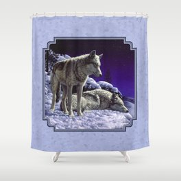 Night Watch Wolves in Snow Shower Curtain