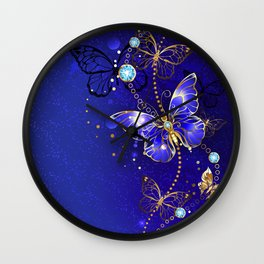 Blue Background with Sapphire Butterfly Wall Clock