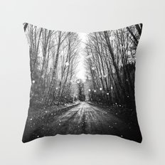 Forest Trees Nature Path - Follow the Fireflies Throw Pillow