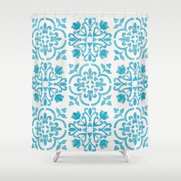 Watercolor Moroccan Tiles - Turquoise Blue Shower Curtain