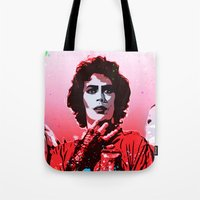 rocky horror picture show Tote Bags featuring The Rocky Horror Picture Show - Pop Art by William Cuccio aka WCSmack
