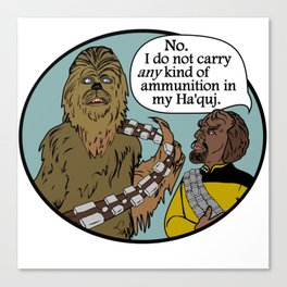Worf & the Wookie Canvas Print