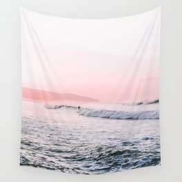 Ocean, Surfer, Pink Sunset, Beach Wall Art Wall Tapestry