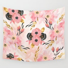 Night Meadow Blush Pink Wall Tapestry