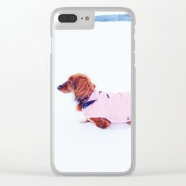 Red dachshund in winter Clear iPhone Case