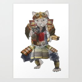 Steampunk samurai cat with 2 pistols Art Print
