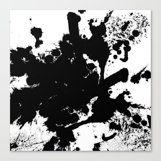 Black and white splat - Abstract, black paint splatter painting Canvas Print