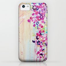 DANCE OF THE SAKURA - Lovely Floral Abstract Japanese Cherry Blossoms Painting, Feminine Peach Blue  Slim Case iPhone 5c