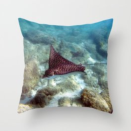 Watercolor Ray, Spotted Eagle Ray 01, St John, USVI, Catch Me If You Can! Throw Pillow