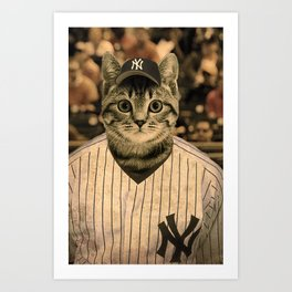 Baseball Cat Art Print