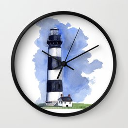 Bodie Island Lighthouse loose watercolor painting Wall Clock