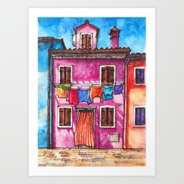 Burano laundry ink and watercolor illustration Art Print