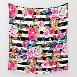 Cute spring floral and stripes watercolor pattern Wall Tapestry