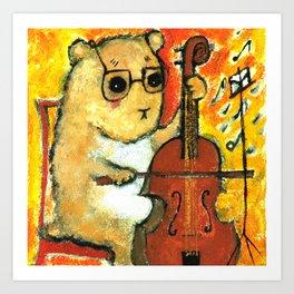 Hamster cellist Art Print
