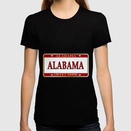 Alabama State Name License Plate T-shirt