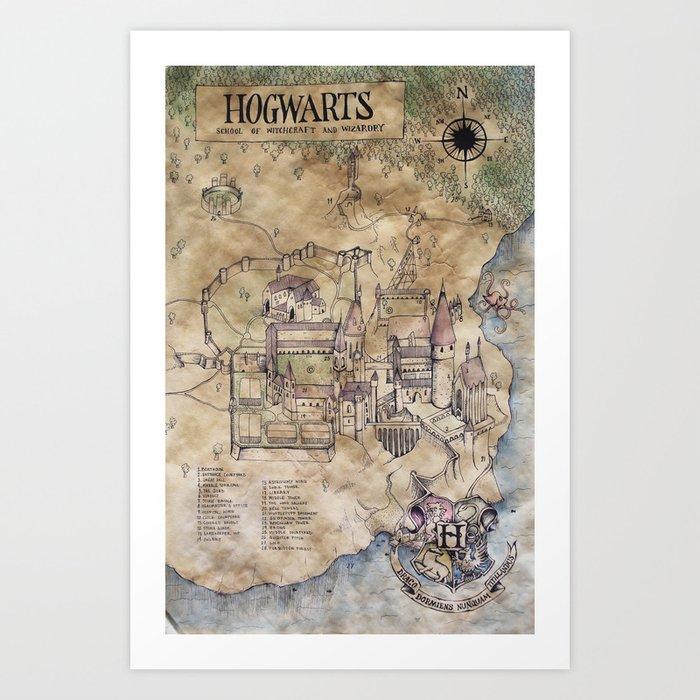 Hogwarts Map Art Print by sarahridings | Society6
