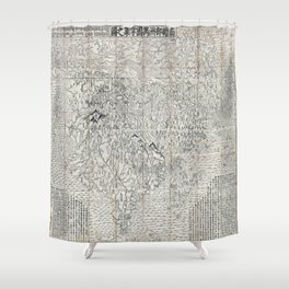 First Japanese Buddhist World Map showing Europe, America and Africa - print from 1710 Shower Curtain