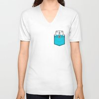 pocket V-neck T-shirts featuring Pocket Polar by Steven Toang