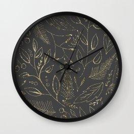 Holiday grey and gold Wall Clock