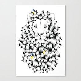 Beautiful Hand Drawn Lion Pointillism Illustration with Blue Tits Canvas Print