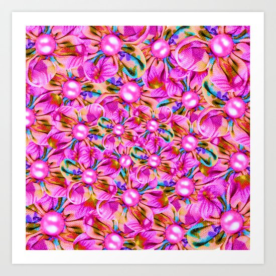 Abstract sewn pink flowers Art Print