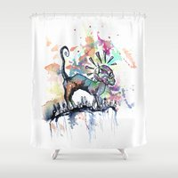 punk rock Shower Curtains featuring Punk Rock Skull Kitty Owns this City by Jessi Adrignola