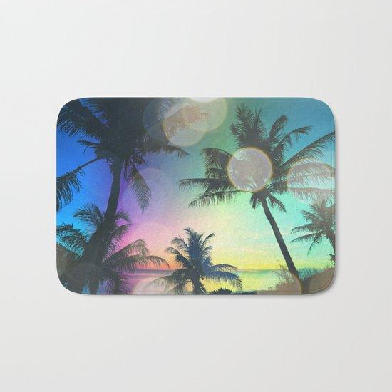 Summer Dreams : Pastel Palm Trees Bath Mat