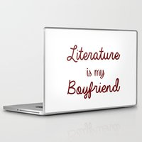 literature Laptop & iPad Skins featuring literature is my boyfriend red by Beautiful Bibliophile's Boutique