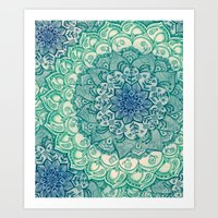 patterns Art Prints featuring Emerald Doodle by micklyn