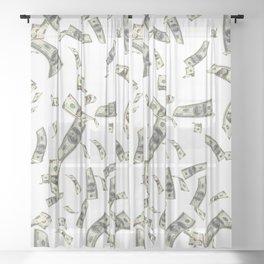 Money,dollars,prosperity pattern Sheer Curtain