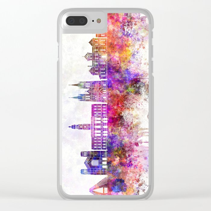 Adelaide V2 skyline in watercolor background Clear iPhone Case