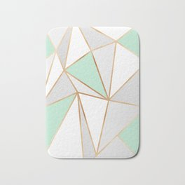 Mint Green, Grey & Gold Geo Bath Mat