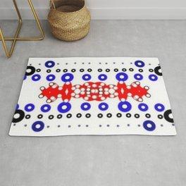 Tile #7 Red-Blue-Black on White Rug