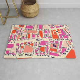 paris map pink Rug