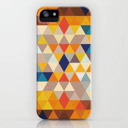 Geometric Triangle - Ethnic Inspired Pattern - Orange, Blue iPhone Case
