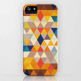 Geometric Triangle - Ethnic Inspired Pattern - Orange, Blue iPhone Case