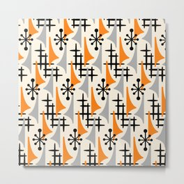 Mid Century Modern Atomic Wing Composition Orange & Gray Metal Print