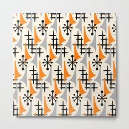Mid Century Modern Atomic Wing Composition Orange & Gray Metal Print