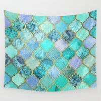 moroccan Wall Tapestries featuring Cool Jade & Icy Mint Decorative Moroccan Tile Pattern by micklyn