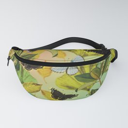 Vintage Ginkgo Leaves and Butterflies Fanny Pack