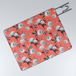 Peonies Mono Coral Picnic Blanket