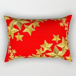 DECORATIVE GOLD  STARS RED CHRISTMAS ART Rectangular Pillow
