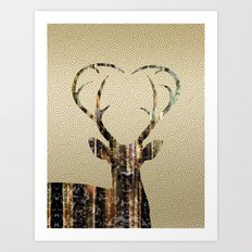 Deer Gold Art Print